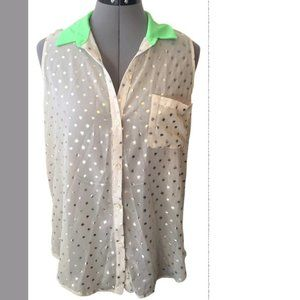 LUSH sheer with gold polka dots and neon green collar button down shirt M